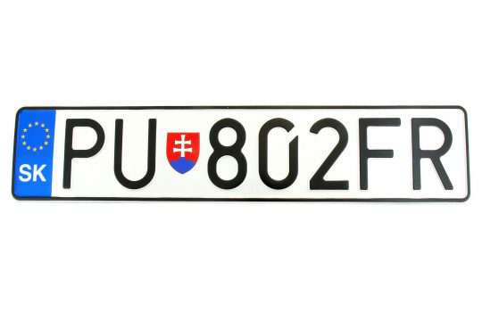 Kolekcjonerska tablica rejestracyjna – Słowacja